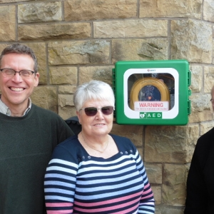 Janet McQuilton with defibrillator
